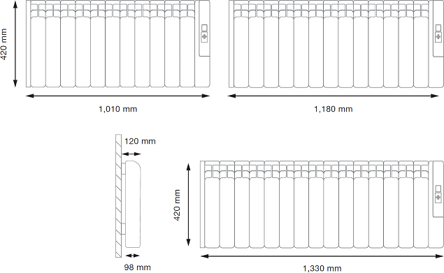 Rointe Kyros Electric Conservatory Radiator Sizes